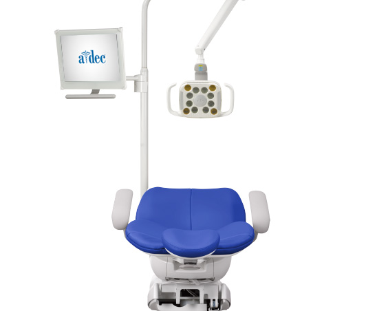 A-dec 300 dental chair with monitor mount and LED dental light