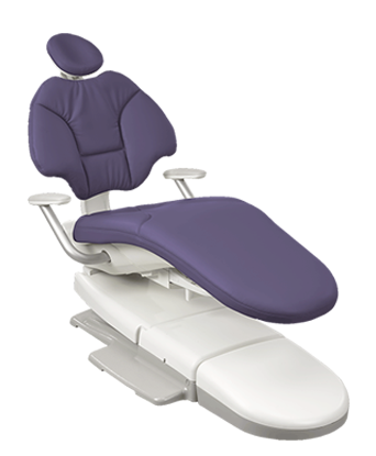 A-dec 400 dental chair with plum upholstery