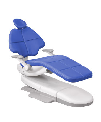 A-dec 500 dental chair with cyan upholstery