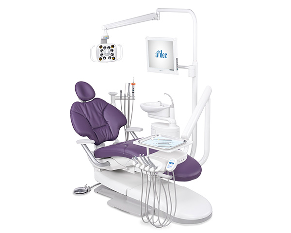 A-dec 400 radius operatory package with plum sewn upholstery and traditional delivery system