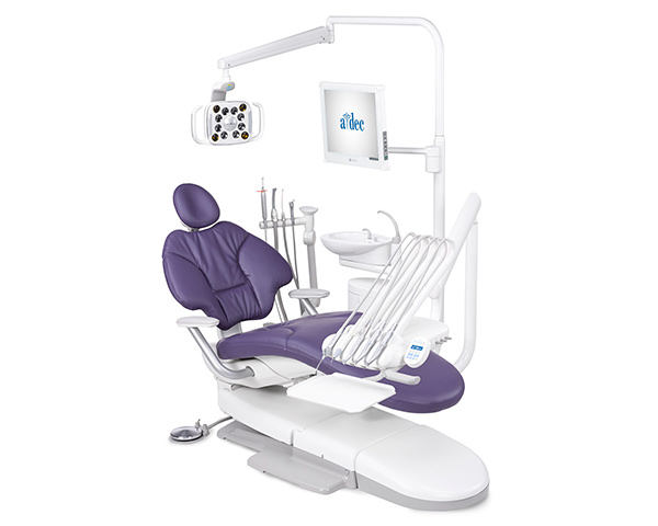 A-dec 400 radius operatory package with plum sewn upholstery and support center