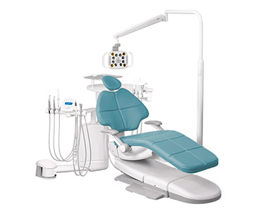 A-dec 500 dental chair  with Cyan upholstery and dental delivery system thumb