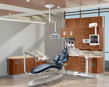 A-dec 400 dental chair with diplomat blue upholstery and A-dec Inspire dental cabinets thumbnail